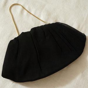 Vintage Black Silk Chiffon Handbag Clutch Purse